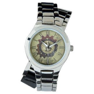 Grunge Steampunk Gears Monogram Letter B Wrist Watch