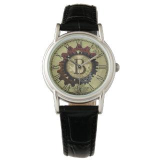 Grunge Steampunk Gears Monogram Letter B Wristwatch