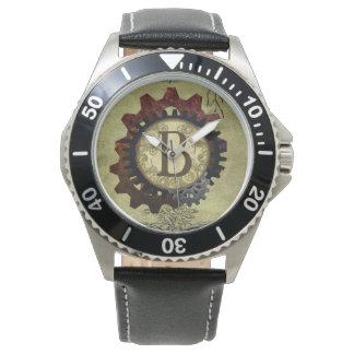 Grunge Steampunk Gears Monogram Letter B Wristwatches