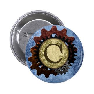 Grunge Steampunk Gears Monogram Letter C 2 Inch Round Button