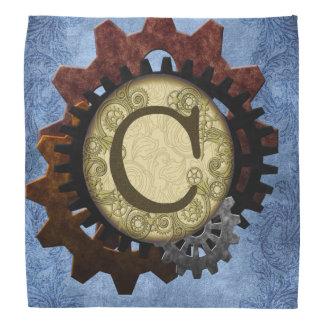 Grunge Steampunk Gears Monogram Letter C Head Kerchiefs