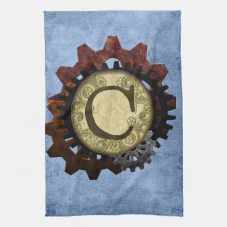 Grunge Steampunk Gears Monogram Letter C Kitchen Towels