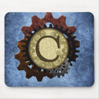 Grunge Steampunk Gears Monogram Letter C Mouse Pad