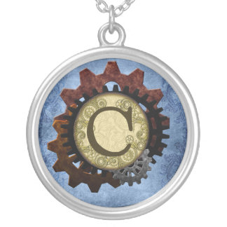 Grunge Steampunk Gears Monogram Letter C Silver Plated Necklace