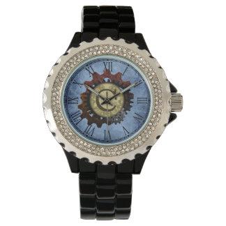 Grunge Steampunk Gears Monogram Letter C Watches