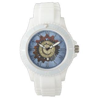Grunge Steampunk Gears Monogram Letter C Wristwatch