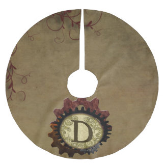 Grunge Steampunk Gears Monogram Letter D Brushed Polyester Tree Skirt