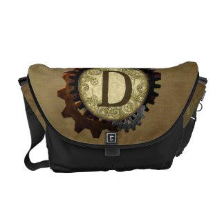 Grunge Steampunk Gears Monogram Letter D Courier Bag