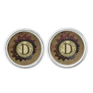 Grunge Steampunk Gears Monogram Letter D Cufflinks