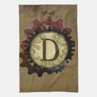 Grunge Steampunk Gears Monogram Letter D Kitchen Towels