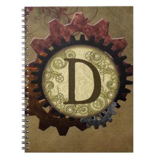 Grunge Steampunk Gears Monogram Letter D Spiral Notebooks