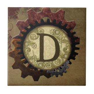 Grunge Steampunk Gears Monogram Letter D Tile