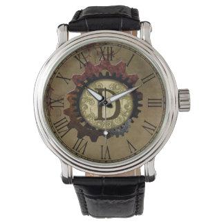 Grunge Steampunk Gears Monogram Letter D Watch