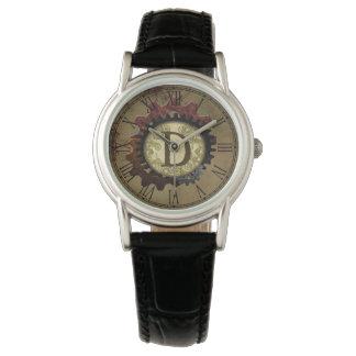 Grunge Steampunk Gears Monogram Letter D Watches