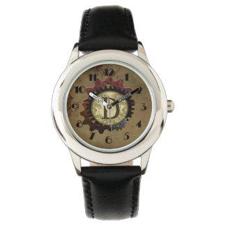 Grunge Steampunk Gears Monogram Letter D Wrist Watch