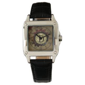 Grunge Steampunk Gears Monogram Letter D Wristwatch