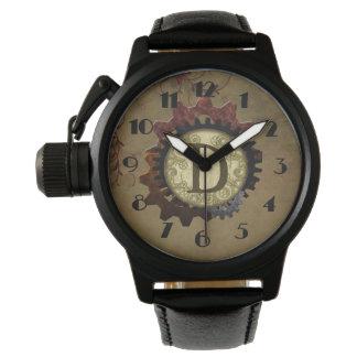Grunge Steampunk Gears Monogram Letter D Wristwatches