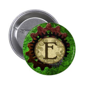 Grunge Steampunk Gears Monogram Letter E 2 Inch Round Button