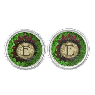 Grunge Steampunk Gears Monogram Letter E Cuff Links