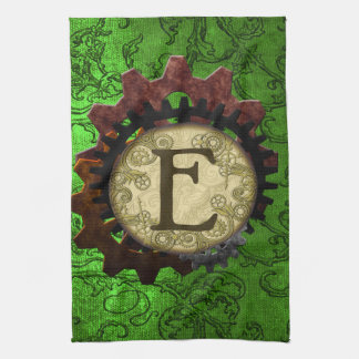 Grunge Steampunk Gears Monogram Letter E Hand Towels