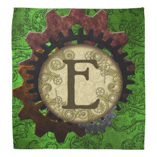 Grunge Steampunk Gears Monogram Letter E Head Kerchiefs