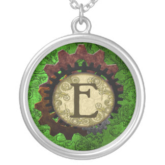 Grunge Steampunk Gears Monogram Letter E Silver Plated Necklace