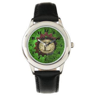 Grunge Steampunk Gears Monogram Letter E Watch