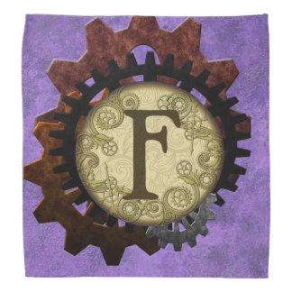 Grunge Steampunk Gears Monogram Letter F Kerchief