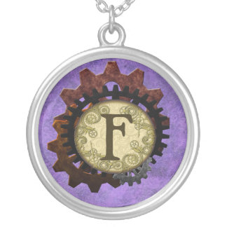 Grunge Steampunk Gears Monogram Letter F Silver Plated Necklace