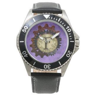 Grunge Steampunk Gears Monogram Letter F Wrist Watch
