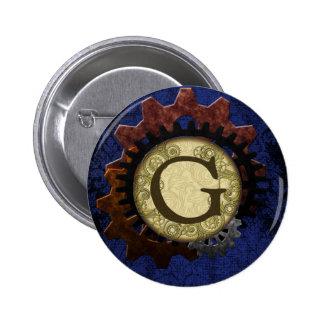 Grunge Steampunk Gears Monogram Letter G 2 Inch Round Button