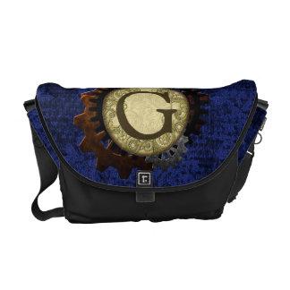 Grunge Steampunk Gears Monogram Letter G Commuter Bags