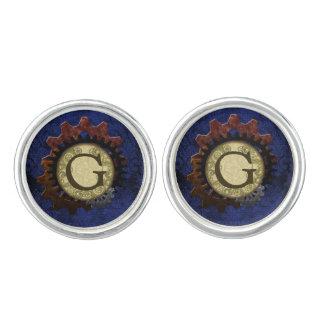 Grunge Steampunk Gears Monogram Letter G Cufflinks