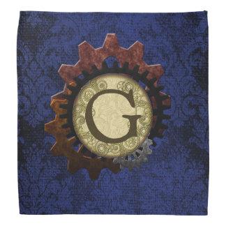 Grunge Steampunk Gears Monogram Letter G Kerchief