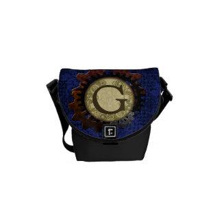 Grunge Steampunk Gears Monogram Letter G Messenger Bags