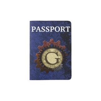 Grunge Steampunk Gears Monogram Letter G Passport Holder