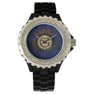 Grunge Steampunk Gears Monogram Letter G Watch