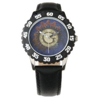Grunge Steampunk Gears Monogram Letter G Watches