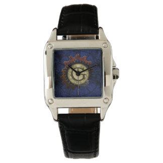 Grunge Steampunk Gears Monogram Letter G Wrist Watch