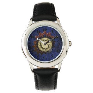 Grunge Steampunk Gears Monogram Letter G Wristwatches