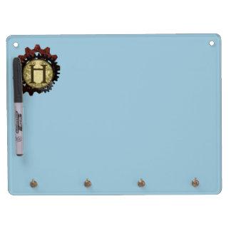 Grunge Steampunk Gears Monogram Letter H Dry Erase White Board
