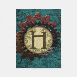 Grunge Steampunk Gears Monogram Letter H Fleece Blanket