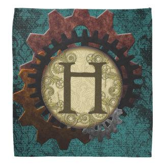 Grunge Steampunk Gears Monogram Letter H Head Kerchiefs