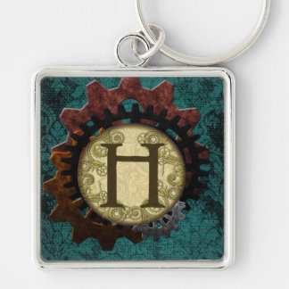 Grunge Steampunk Gears Monogram Letter H Silver-Colored Square Keychain