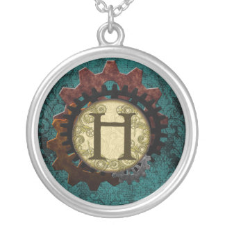Grunge Steampunk Gears Monogram Letter H Silver Plated Necklace