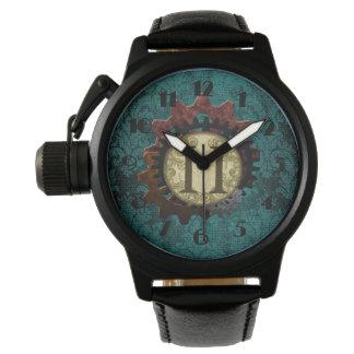 Grunge Steampunk Gears Monogram Letter H Watch