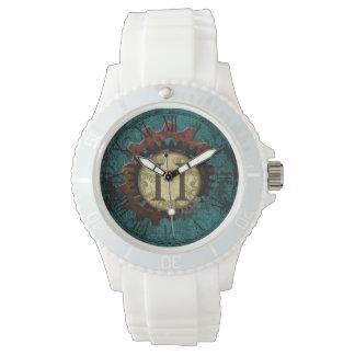 Grunge Steampunk Gears Monogram Letter H Wrist Watch