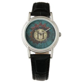 Grunge Steampunk Gears Monogram Letter H Wristwatch