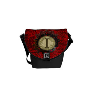 Grunge Steampunk Gears Monogram Letter I Courier Bags