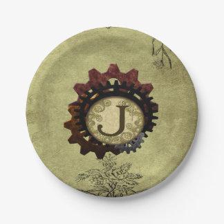 Grunge Steampunk Gears Monogram Letter J 7 Inch Paper Plate